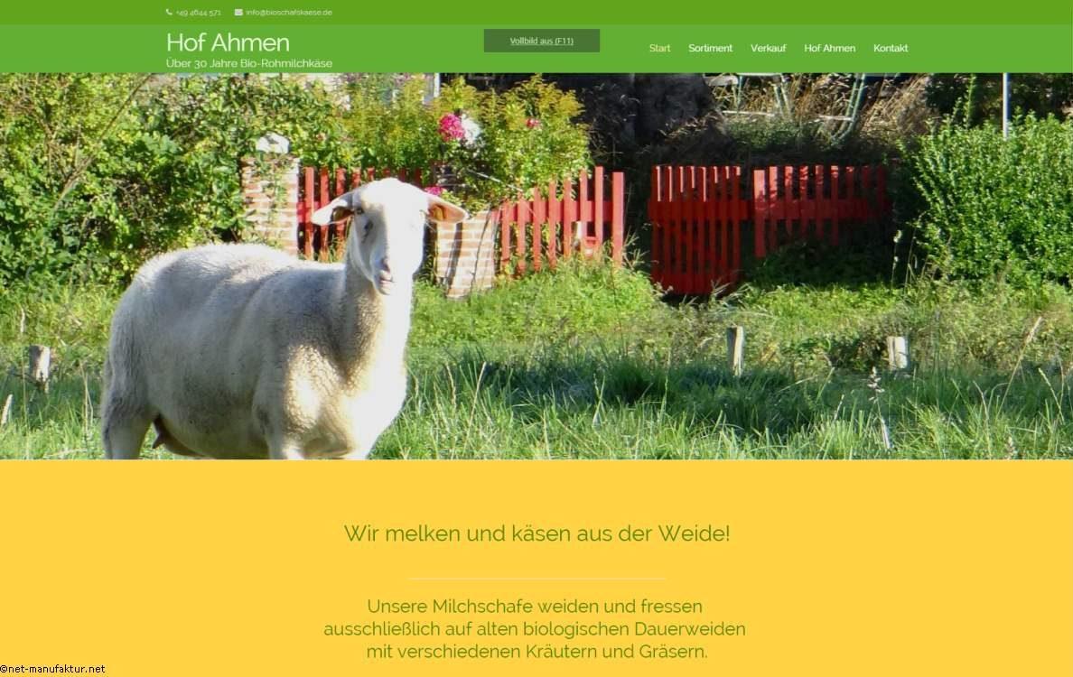 Homepage für Lebensmittelhersteller - hof-ahmen-bioschafskaese-de