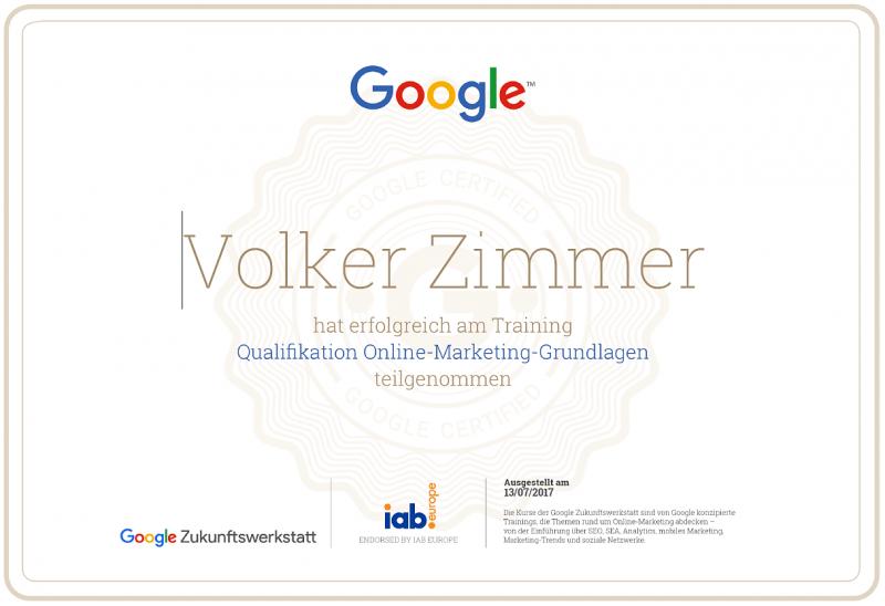 Bild: Google-Zertifikat-Online-Marketing-Grundlagen